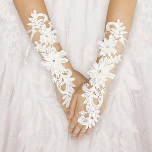 Accessories - Crystal Floral Lace Fingerless Wedding Gloves